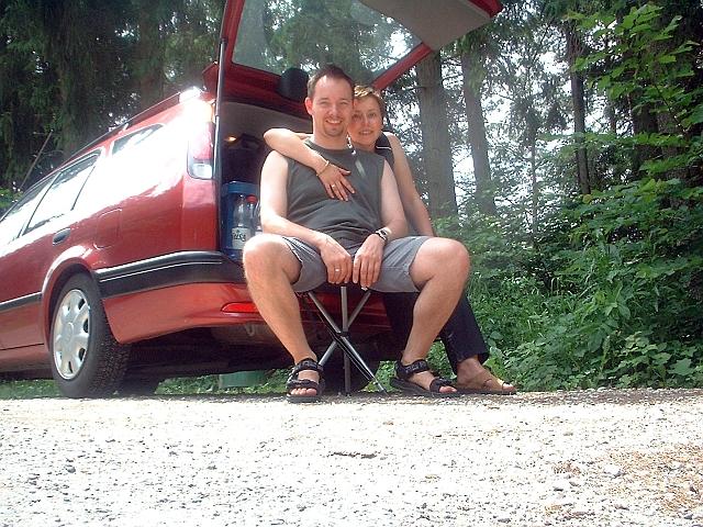 Es ist gut einen Campinghocker dabei zu haben - Schwarzwald Jun 2003